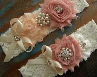 Garter / Vintage Pink / Soft Peach / Ivory / Wedding Garters / Bridal Garter / Toss Garter / Vintage Inspired Lace Garter