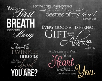 5 Word Overlays - Baby Newborn Phrases Photo Overlay - Text Photo Overlay - Bible Quote Baby Newborn Photo Words Phrase INSTANT DOWNLOAD