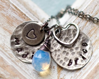 Personalized Necklace, Hand Stamped Mother Necklace, Personalized Mother's Necklace, Charm Necklace, Name Necklace Personalized, Heart Charm