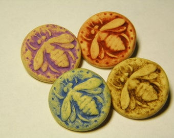 5-Handmade Molded Bee Buttons-Choose your color