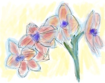 PINK ORCHIDS digital watercolor