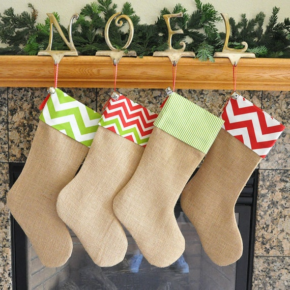 Burlap christmas stocking with fabric cuff chevron christmas stocking