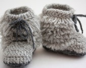 Crochet Grey Moccasin Winter Boots with Fringe- Babies - Poteryasha