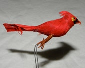 12 Red Cardinal Birds with wires Decorative Details