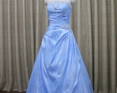 Sumptuous blue taffeta bridal gown crease line zipper or binding design PROM dresses/wedding dress