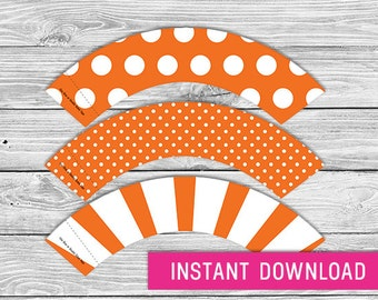 Printable Cupcake Wrapper - Orange (instant download, cupcake wrappers, cupcake liner, baby shower, baby boy, first birthday, birthday)