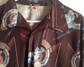 Vintage 1970's Men's Psychedelic Long Sleeved Shirt - size large, medium, floral, brown, blue