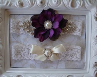 Purple Wedding Garter Set - Lace Rhinestone Garter - Pearl Garter - Ivory Bridal Garter - Toss Garter - Wedding Garter Belt