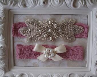 Wedding Garter - Pink Bridal Garter - Rhinestone and Pearl Wedding Gater with Pink Lace