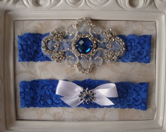 Royal Blue Wedding Garter - Lace Garter Set - Rhinestone Garter - Toss Garter - Bridal Garter - Wedding Garter Belt - Keepsake Garter