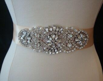 Bridal Sash - Wedding Dress Sash Belt - Blush Rhinestone and Pearl Wedding Sash - Blush Pink Rhinestone Bridal Sash