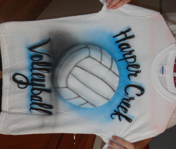 Custom airbrushed volleyball t shirt design any names or for Custom made airbrushed shirts