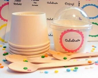 50 White Ice Cream Cups - Small 8 oz