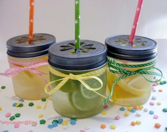 SALE 20% - 15 Mini Plastic Mason 8 oz Jars with Daisy Cut Lid - Unbreakable Drinking Jar Parties