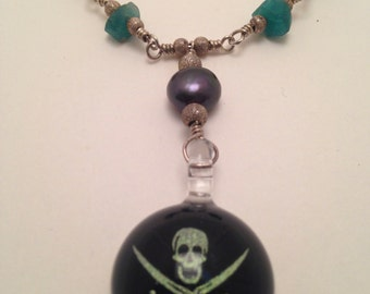 Sterling Silver Pirate Necklace With Emeralds and Black Pearls