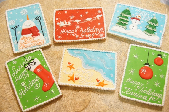 Hand decorated CHRISTMAS POSTCARD cookies