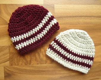 Crocheted Baby Twin Boys Hat Set - Burgundy & Oatmeal Twin Hat Set - Baby Shower Gift - Sizes Newborn to 24 Months - MADE TO ORDER