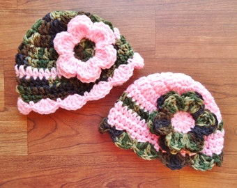 Crocheted Baby Girl Camo & Pink Hat Set, Twin Hat Set with Flowers, Camo with Pink and Pink with Camo - Newborn to 24 Months - MADE TO ORDER