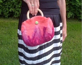 Felt bag, Felt Clutch, Felt Purse, Felt Handbag, Felt Wristlet, Pink, Flamingo Berry, Wet Felted Merino Wool, SALE! 25% off!