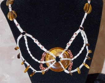 Tiger Eye and Copper Chain Mail Adjustable Hemp Necklace; Tiger Eye Donut Necklace; 18-25 inches Long; Handmade Necklace; One of a Kind