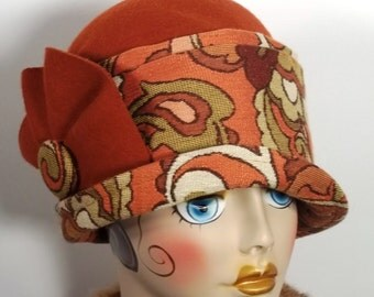 Wool, felt, 1920s,  cloche hat, orange, flapper, Art Deco, tapestry, designer, church hat, size Sm, Med, L. Free shipping in the  USA