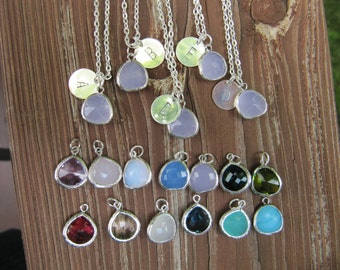 Tear Drop Pendant Bridesmaid Personalized Stamped Letter Charm Necklace Set of 5 - Bridesmaids Gift - Pick your Color