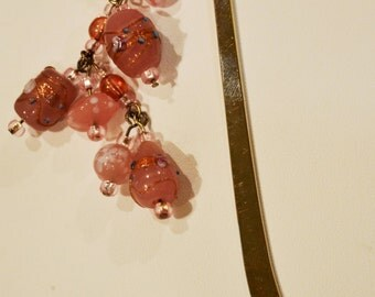Beaded Bookmark - Pink Glass Beads - Sterling Silver Plated Hook