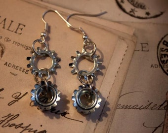 Upcycled Hardware Star Washer and Lock Nut Steampunk Drop Earrings