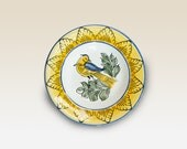 Little plate with blue, yellow, green, brown Bird, Flower motives . Haban Ceramic. 100% Handmade. Hand painted Motives. - HabanCeramic