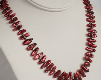 "50% OFF Was 85 Now 42.50 Rich Red Swarovski Helixes, Scarlet BIWA Freshwater Pearls 28"" Symetric or Asymetric Necklace"