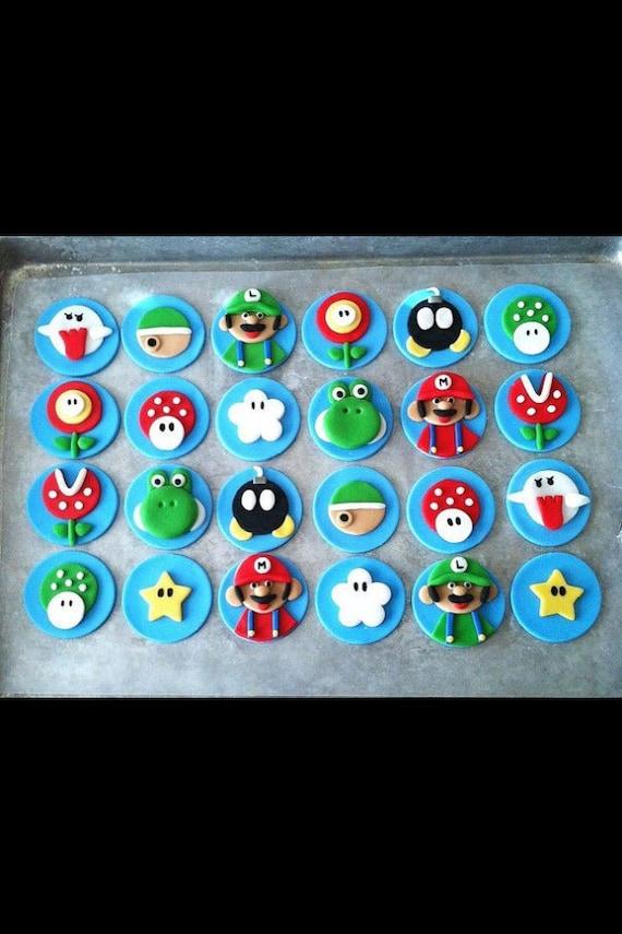 Super Mario fondant flat cupcake toppers