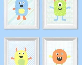 Monster Nursery Decor, Blue,Green, Orange, Yellow Nursery, Boy Nursery, Boys Room Art, Nursery Print, cute nursery art