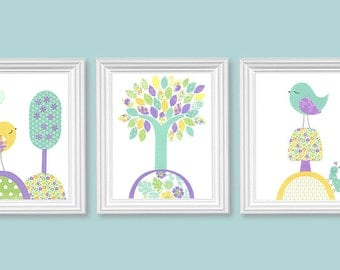 Bird Nursery Art, Aqua Purple Yellow, Girl's Room Decor, Baby Girl Prints, Girl Nursery Art, Bird Nursery Decor, Baby Girl Bird Decor