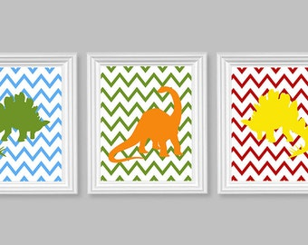 Dinosaur Nursery Art, Brontosaurus, Stegosaurus, Chevron, Blue Green Orange Yellow Red, Colorful, Boy's Room Decor, Primary Colors, Baby Art