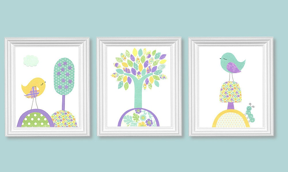 Bird Nursery Art Aqua Purple Yellow Girl 39 S Room Decor