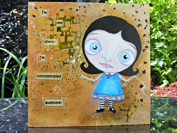 I'm Awesome! - Big Eyed Girl - Original Mixed Media Art Painting by Deborah Jackson Hall