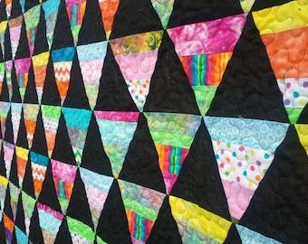 Pink and Black Quilt, Pink Quilt, Rainbow Quilt, Made To Order, Queen Quilt, King Quilt, Handmade Quilt, Modern Quilt,