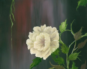 Rose White Original Oil/Acrylic Painting  Floral 12in x 16in