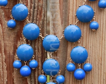 Blue statement necklace Bubble necklace for girls Bib necklace for women gift for holiday gift Beaded necklace statement jewelry