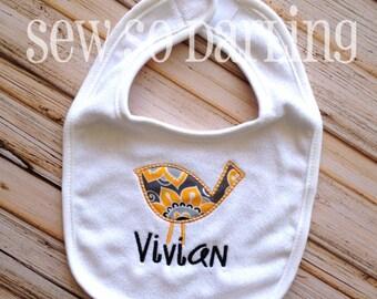 Baby Girl Bird Bib - Personalized Baby Girl Bib - Birdie Bib - personalized bib - baby gift