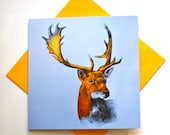 Golden Stag - Fine Art Greetings Card, Stag Christmas Card/Note Card, Blank Inside