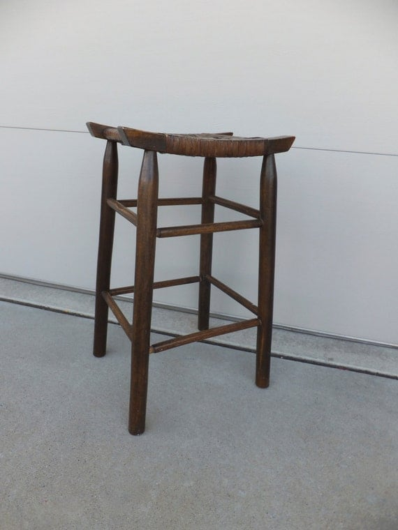 Vintage Wood Cane Bar Stoolwoven Wickermid By Retrovintageous