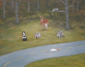 """Funny animal art wildlife painting recalls """"Why did the chicken cross the road?"""" jokes."""