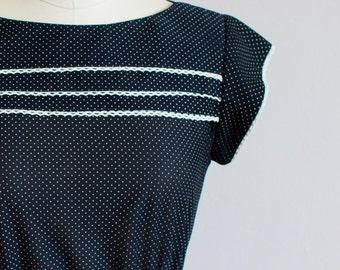 Vintage Semi Sheer Polkadot Dress / Navy Blue / Size M
