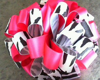 Zebra & Pink Boutique Hairbow!