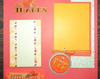 12x12 Give Thanks Scrapbooking Page, Thanksgiving Layout, Thanksgiving Scrapbook, Thanksgiving premade pages, Thanksgiving Scrapbook Layout