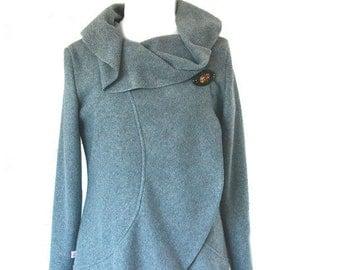 Women long Fleecejacket,light grey size xs-L
