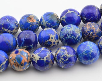 """16""""  12MM Navy Blue  Sea Sediment  Round Beads  Imperial  Gemstone Loose"""
