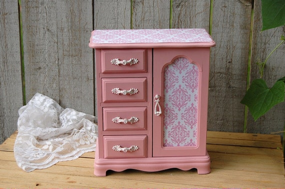Pink Shabby Chic Jewelry Box Armoire Damask By