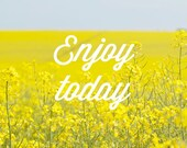 Enjoy today - quote on photo of yellow field